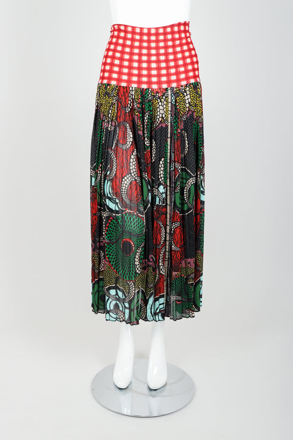 Vintage Jean Paul Gaultier Soleil Wax Print Skirt on Mannequin front at Recess Los Angeles