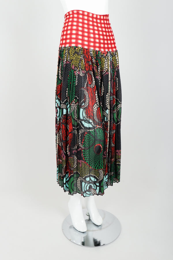 Vintage Jean Paul Gaultier Soleil Wax Print Skirt on Mannequin angle at Recess Los Angeles