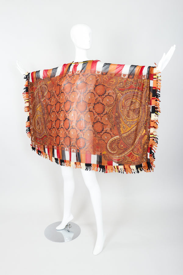 Vintage Jean Paul Gaultier Floral Paisley Mesh Poncho on Mannequin outstretch at Recess