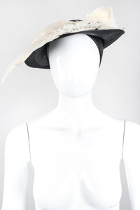 Recess Los Angeles Designer Consignment Vintage Millinery Jack McConnell Feather Wing Calot Juliet Hat