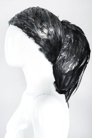 Recess Los Angeles Designer Consignment Vintage Millinery Jack McConnell Feather Waterfall Mohawk Casque Hat