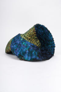 Recess Los Angeles Vintage Jack McConnell Peacock Feather Swirl Capulet Casque Fascinator Hat