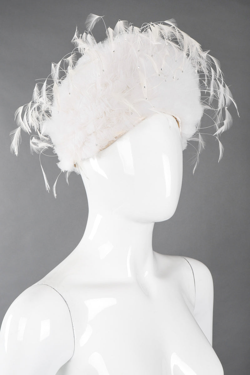 Recess Los Angeles Vintage Jack McConnell Tulle Feather Pouf Cossack Wedding Bridal Hat