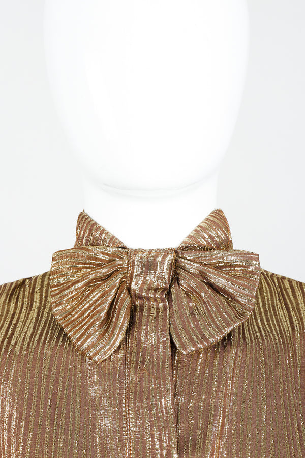Vintage Jacques Molko Striped Gold Lamé Bow Tie Blouse on Mannequin Bow detail
