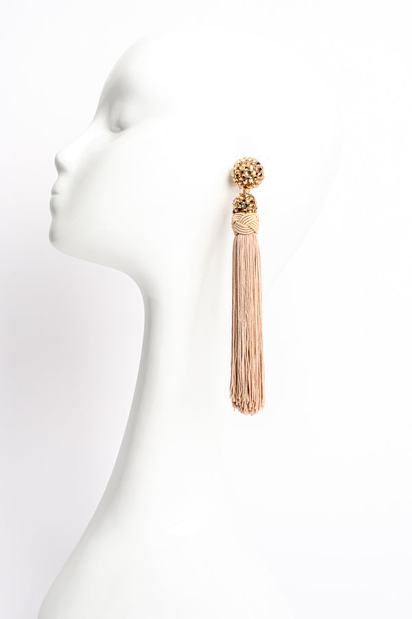 Vintage James Arpad Blush Long Tassel Earrings on mannequin at Recess Los Angeles