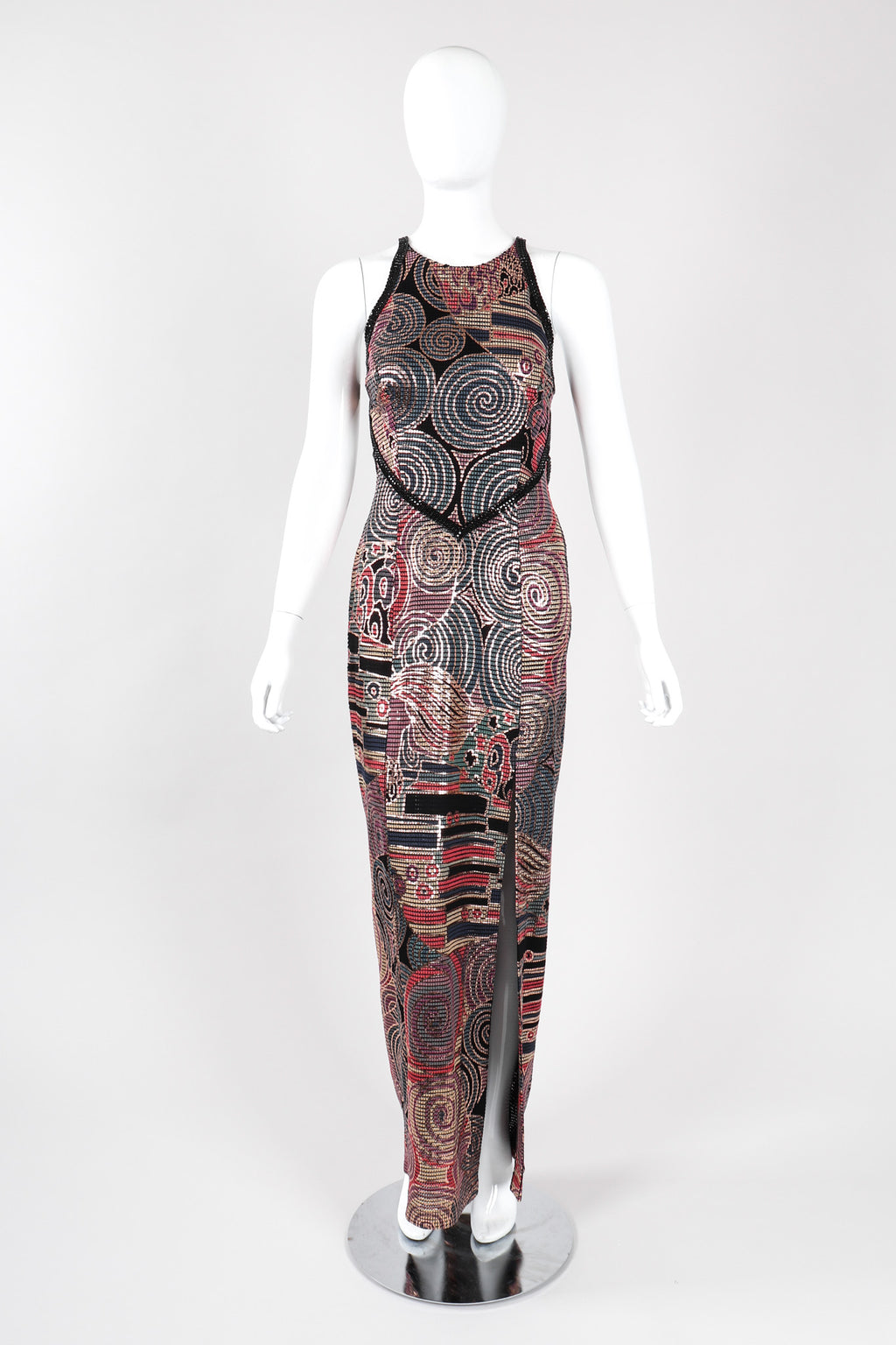 Recess Los Angeles Vintage Janine of London Rose Gold Mosaic Sequin Crossback Halter Gown