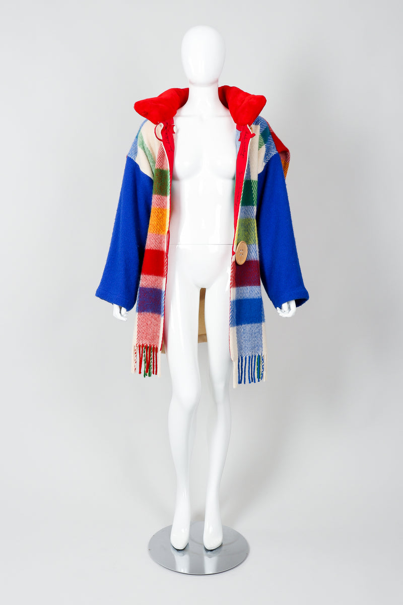 Vintage Jean-Charles De Castelbajac Rainbow Plaid Blanket Coat on Mannequin Front Open at Recess