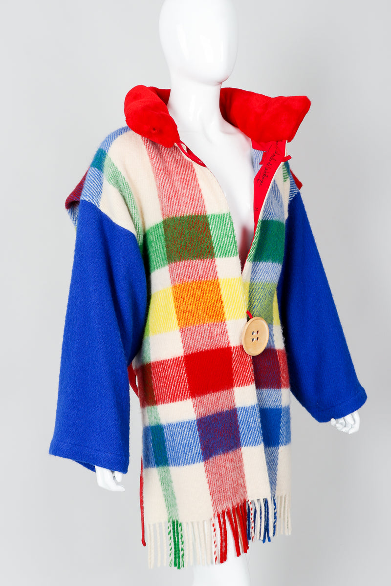 Vintage Jean-Charles De Castelbajac Rainbow Plaid Blanket Duffle Coat on Mannequin collar open