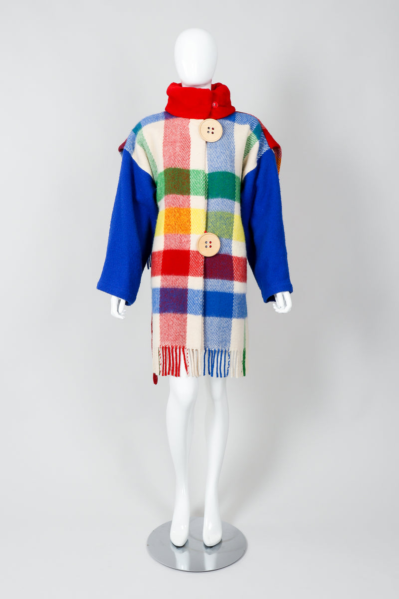 Vintage Jean-Charles De Castelbajac Rainbow Plaid Blanket Coat on Mannequin Front at Recess
