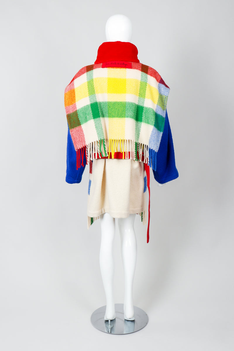 Vintage Jean-Charles De Castelbajac Rainbow Plaid Blanket Coat on Mannequin Back at Recess