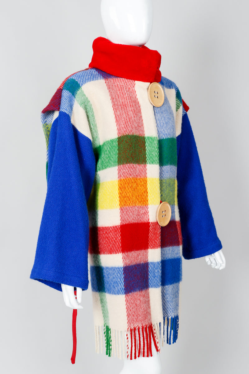 Vintage Jean-Charles De Castelbajac Rainbow Plaid Blanket Coat on Mannequin cropped at Recess
