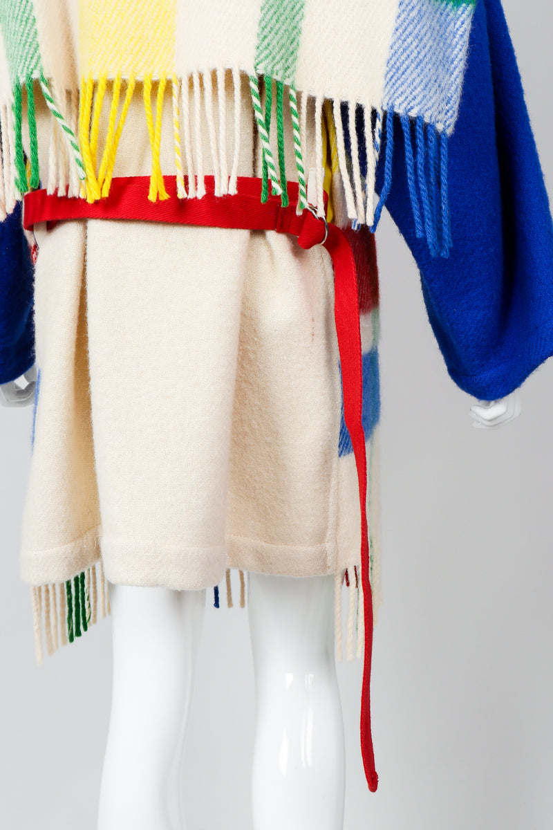 Vintage Jean-Charles De Castelbajac Rainbow Plaid Blanket Coat Belt and Fringe at Recess