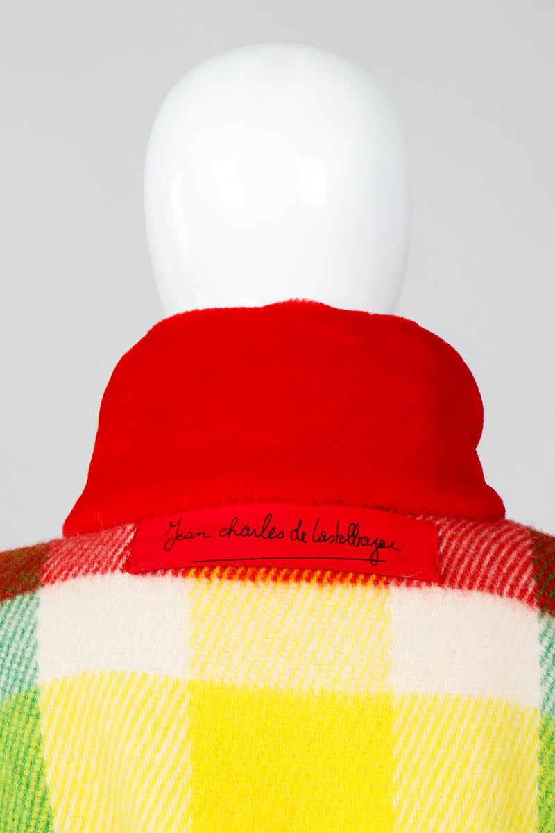 Vintage Jean-Charles De Castelbajac Rainbow Plaid Blanket Coat on Mannequin back Collar