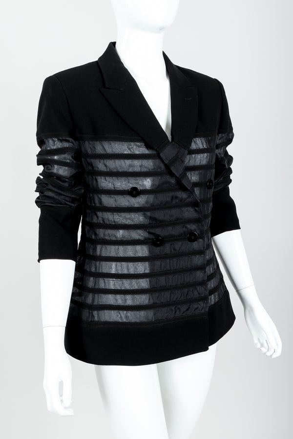 Vintage Jean Paul Gaultier Sheer Striped Jacket on Mannequin angle crop at Recess Los Angeles
