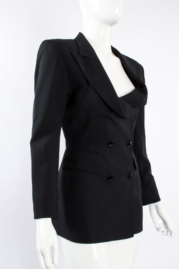 Vintage Jean Paul Gaultier Cowl Lapel Double Breasted Jacket on Mannequin angle at Recess LA