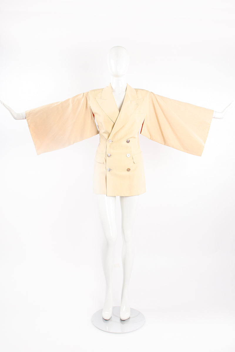 Vintage Jean Paul Gaultier Double Breasted Kimono Sleeve Jacket on Mannequin front @ Recess LA