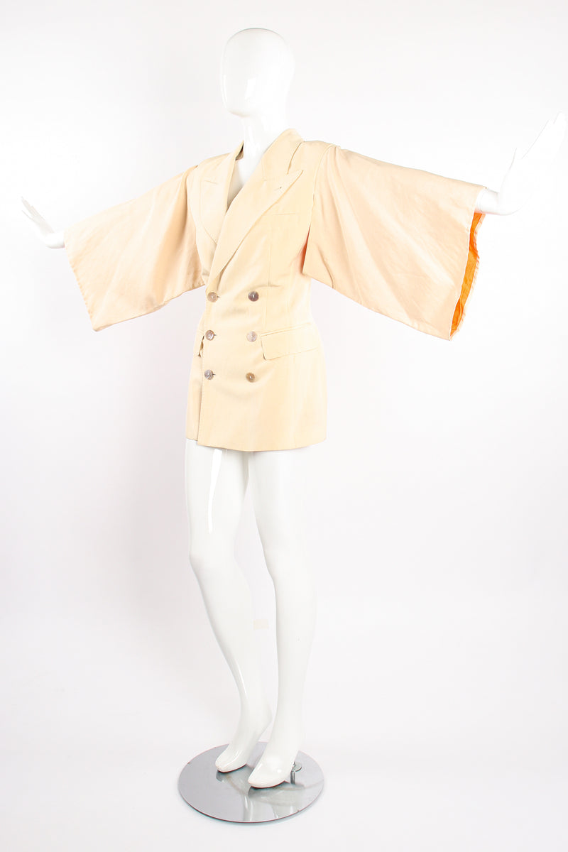 Vintage Jean Paul Gaultier Double Breasted Kimono Sleeve Jacket on Mannequin angle @ Recess LA