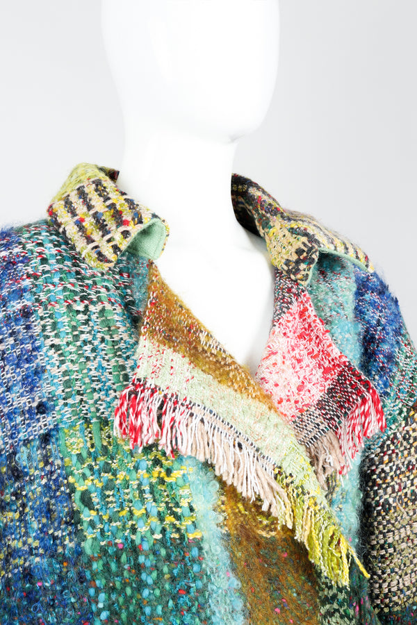 Vintage Jean Charles de Castelbajac Rainbow Tweed Blanket Jacket on Mannequin Collar Detail