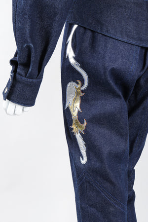 Recess Los Angeles Vintage Jean Claude Jitrois Denim Appliqué Moto Flight Suit Top Gun Set