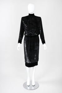 Recess Los Angeles Vintage Jean Louis Scherrer Metallic Silk Velvet Lamé Blouson Dress