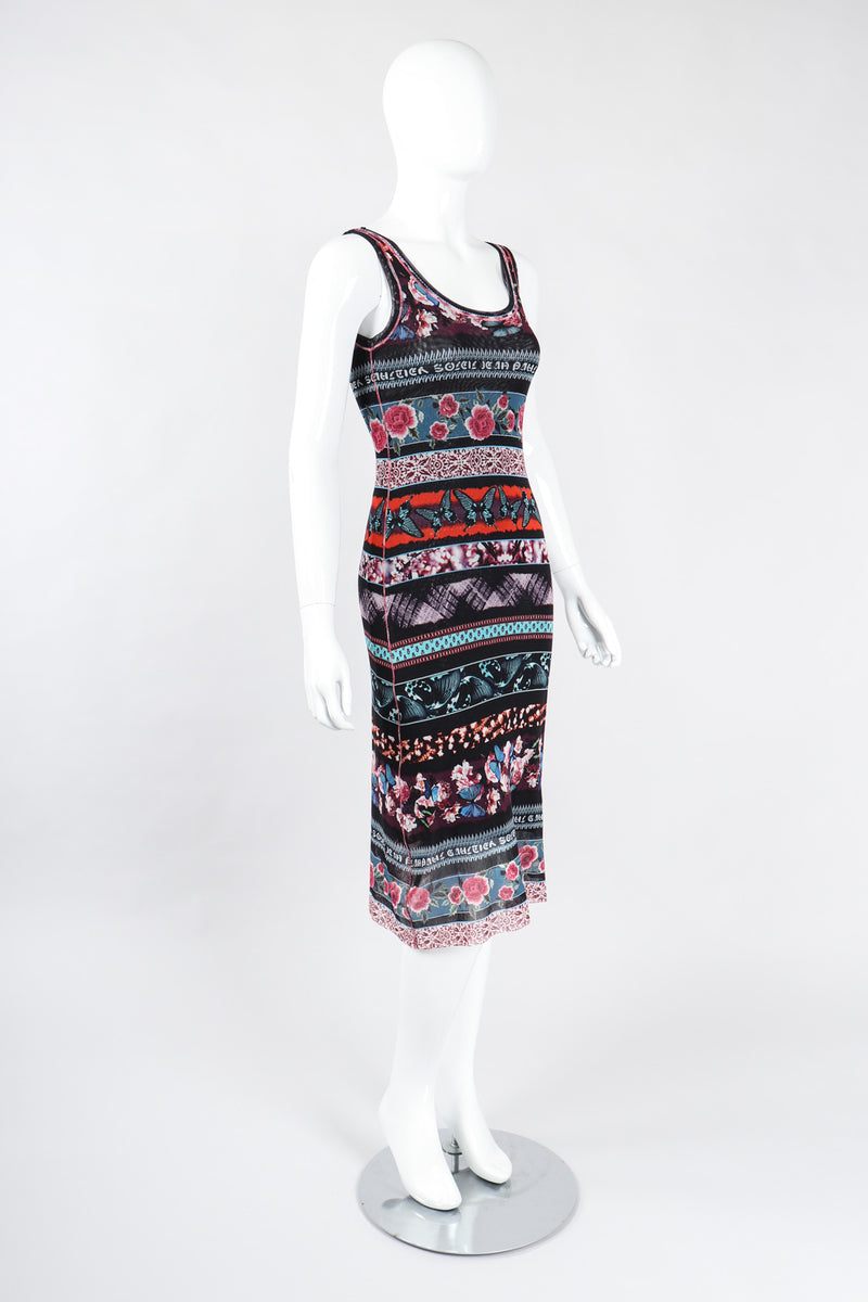 Recess Los Angeles Vintage Jean Paul Gaultier Soleil Butterfly Floral Mesh Tank Dress