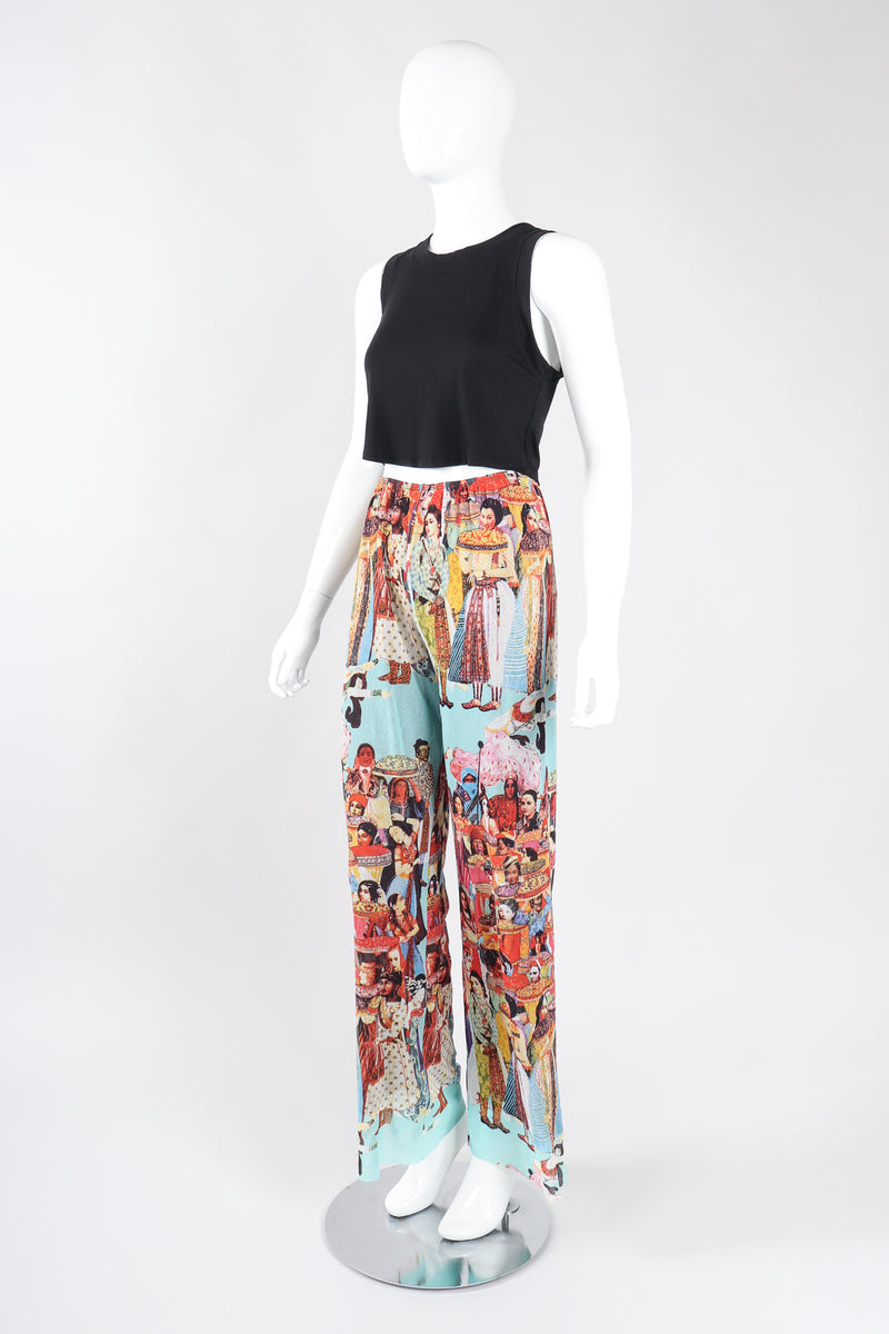 Recess Los Angeles Designer Consignment Vintage Jean Paul Gaultier 90s Soleil Mesh Bollywood Print Pant