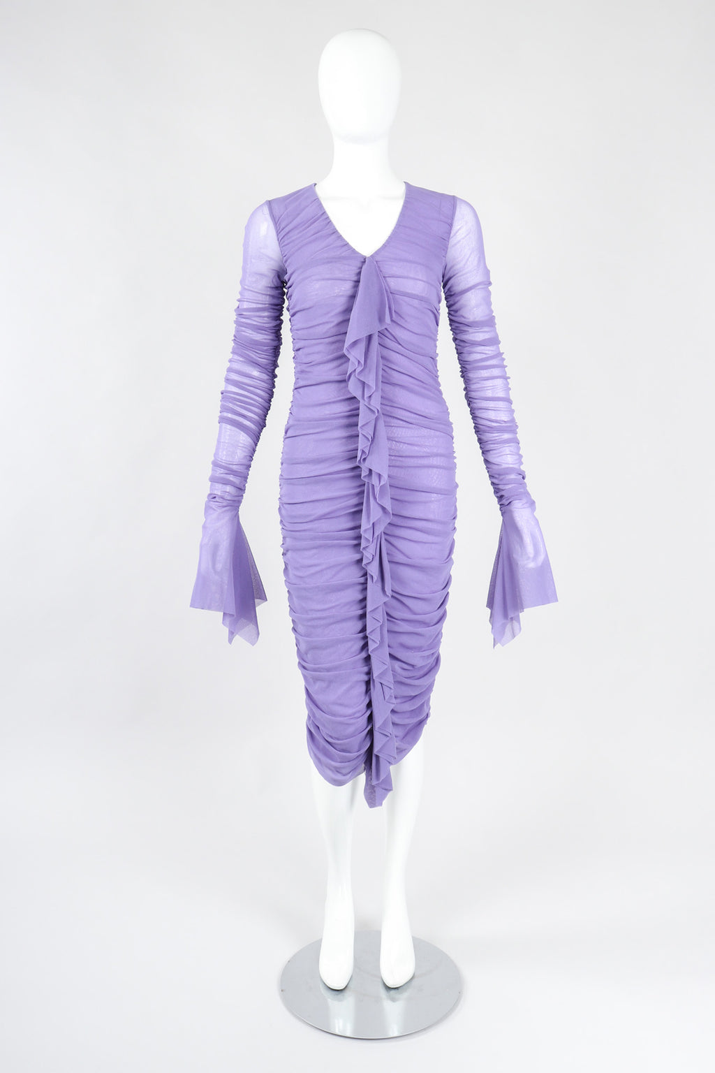 Recess Los Angeles Vintage Jean Paul Gaultier Soleil Ruched Mesh Ruffle Cuff Dress