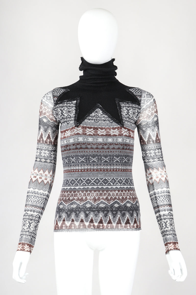 Recess Designer Consignment Vintage Jean Paul Gaultier Soleil Fair Isle Illusion Mesh Sweater Top Los Angeles Resale