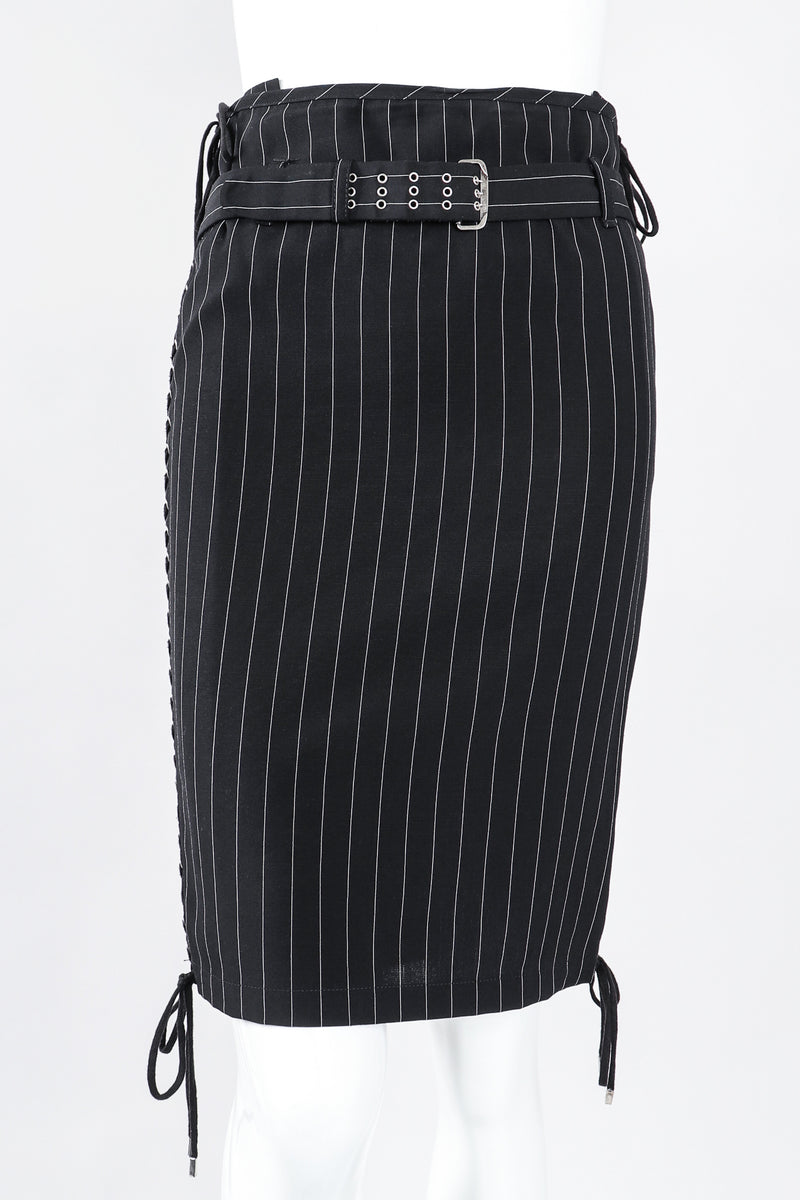 Recess Los Angeles Designer Consignment Vintage Jean Paul Gaultier JPG Lace Up Pinstripe Pencil Skirt