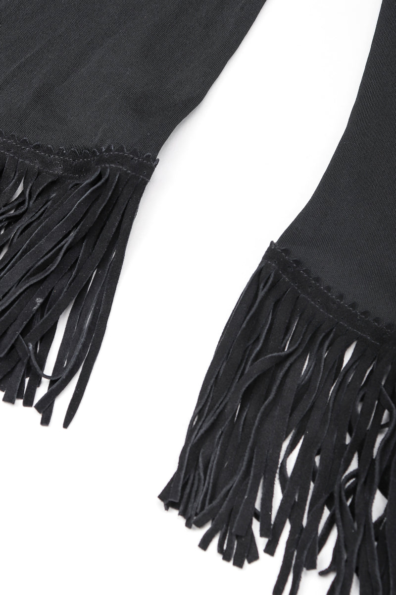 Recess Designer Consignment Vintage Jean Paul Gaultier Femme Mesh Jersey Asymmetrical Suede Fringe Top Outfit Los Angeles Resale