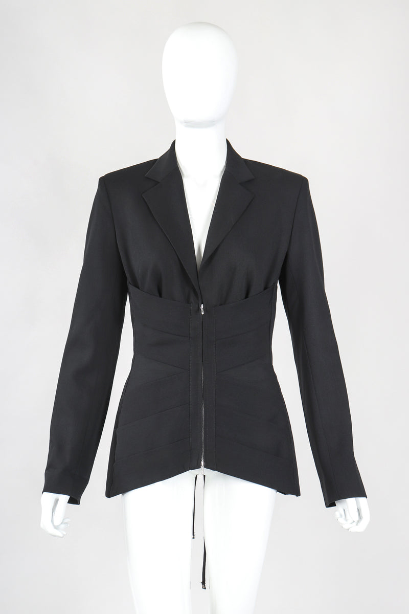 Recess Designer Consignment Vintage Jean Paul Gaultier Femme Wool Corset Waist Jacket Suiting Los Angeles Resale