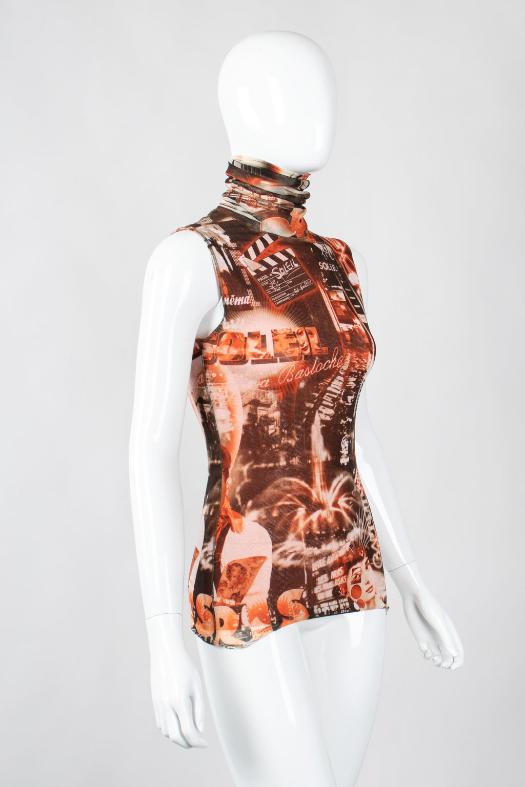 Recess Los Angeles Vintage Jean Paul Gaultier Soleil Sepia Cinema Mesh Sleeveless Top