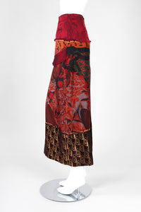 Recess Los Angeles Vintage Jean Paul Gaultier Chut Thai Mixed Print Silk Column Skirt Thai