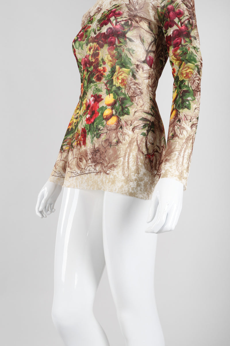 Recess Los Angeles Vintage Jean Paul Gaultier Floral Sketch Art Mesh T-Shirt