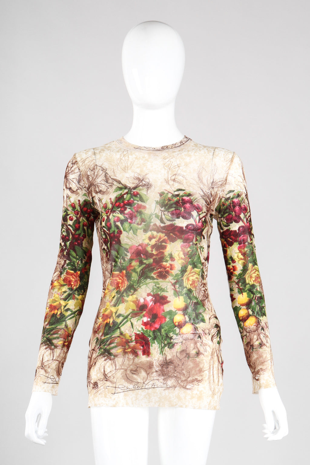 Recess Los Angeles Vintage Jean Paul Gaultier Maille Classique Floral Sketch Art Mesh T-Shirt