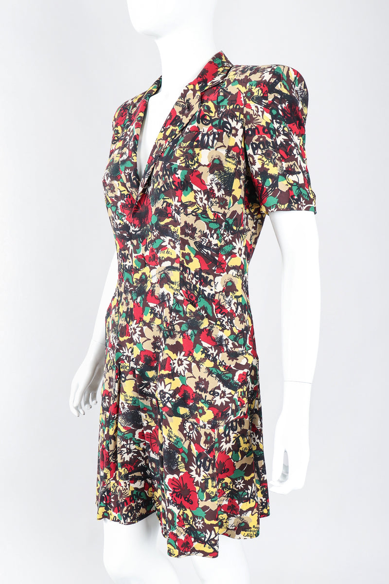 Recess Los Angele Designer Consignment Vintage Jean Paul Gaultier Graffiti Camo Print God Save The Queen Silk Coat Dress