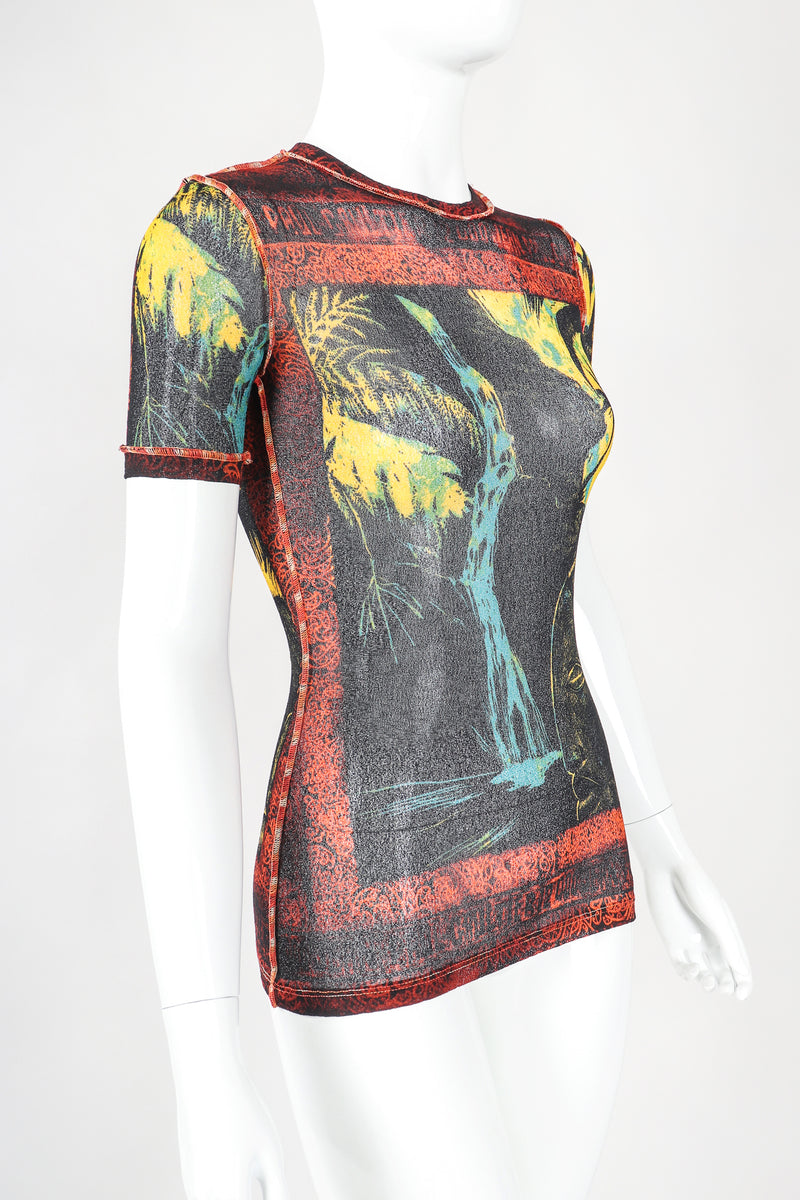 Recess Designer Consignment Vintage Jean Paul Gaultier Maille Classique Tiki Waterfall Mesh T-Shirt Los Angeles Resale