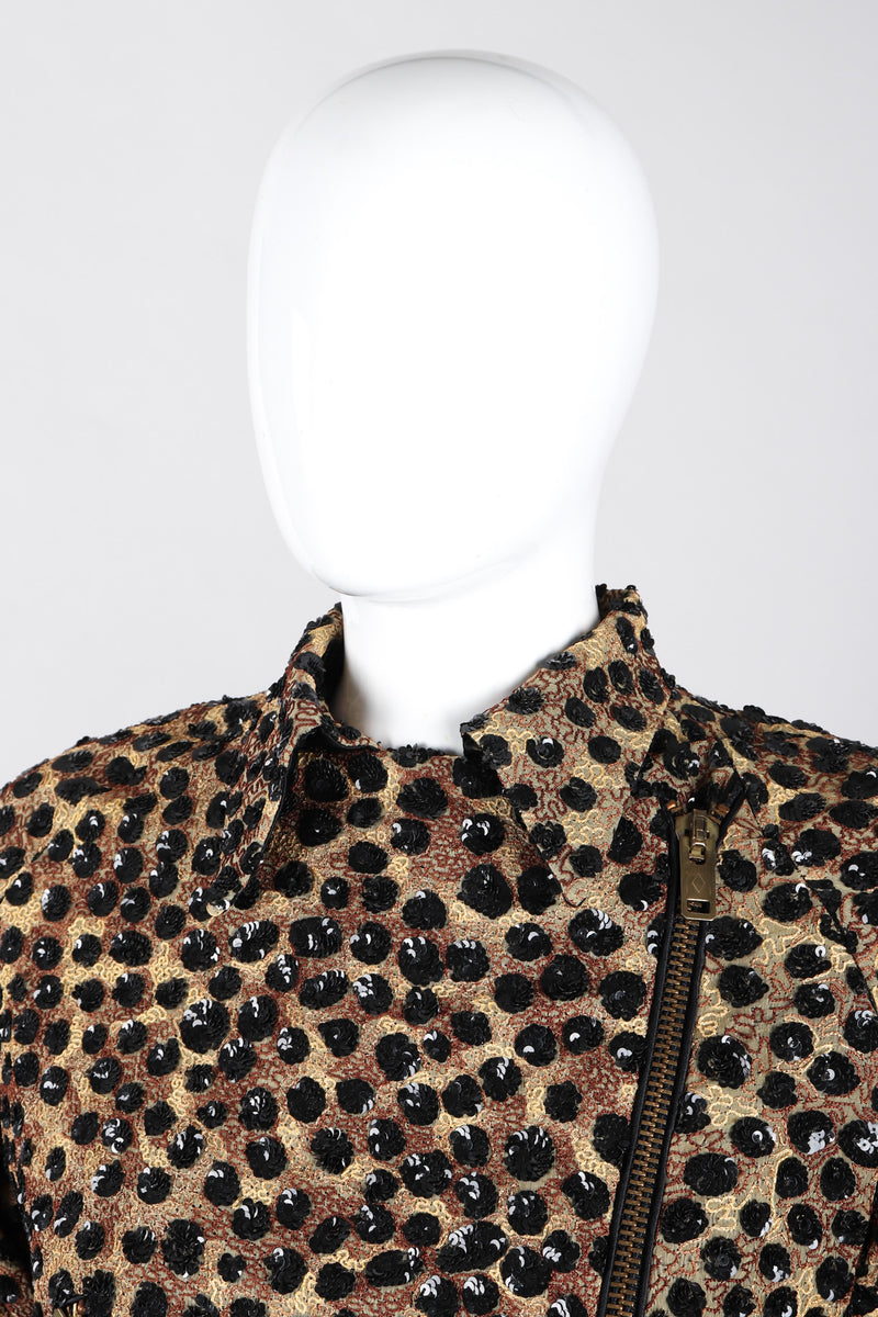 Recess Los Angeles Vintage Jeanette St Martin Cheetah Leopard Sequins Squiggly Embroidery Zip Up Motorcycle Jacket