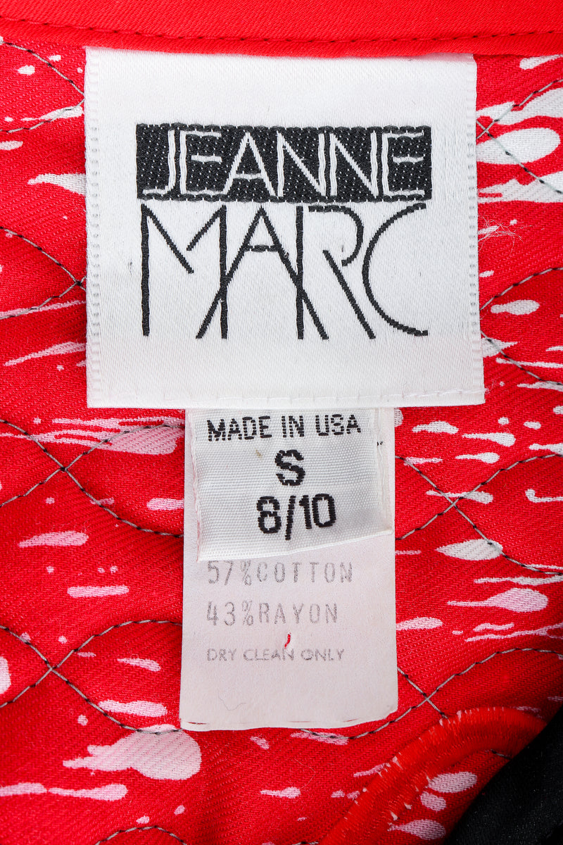 Recess Vintage Jeanne Marc label on red print fabric