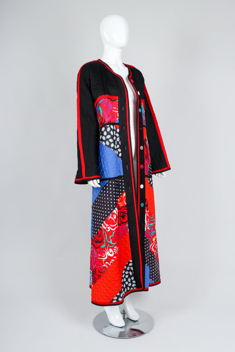 Recess Vintage Jeanne Marc Multicolor Quilted Patchwork Duster Coat on Mannequin, angled