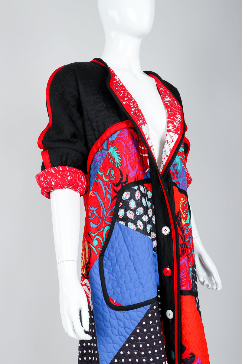 Recess Vintage Jeanne Marc Multicolor Quilted Patchwork Duster Coat on Mannequin, sleeves rolled