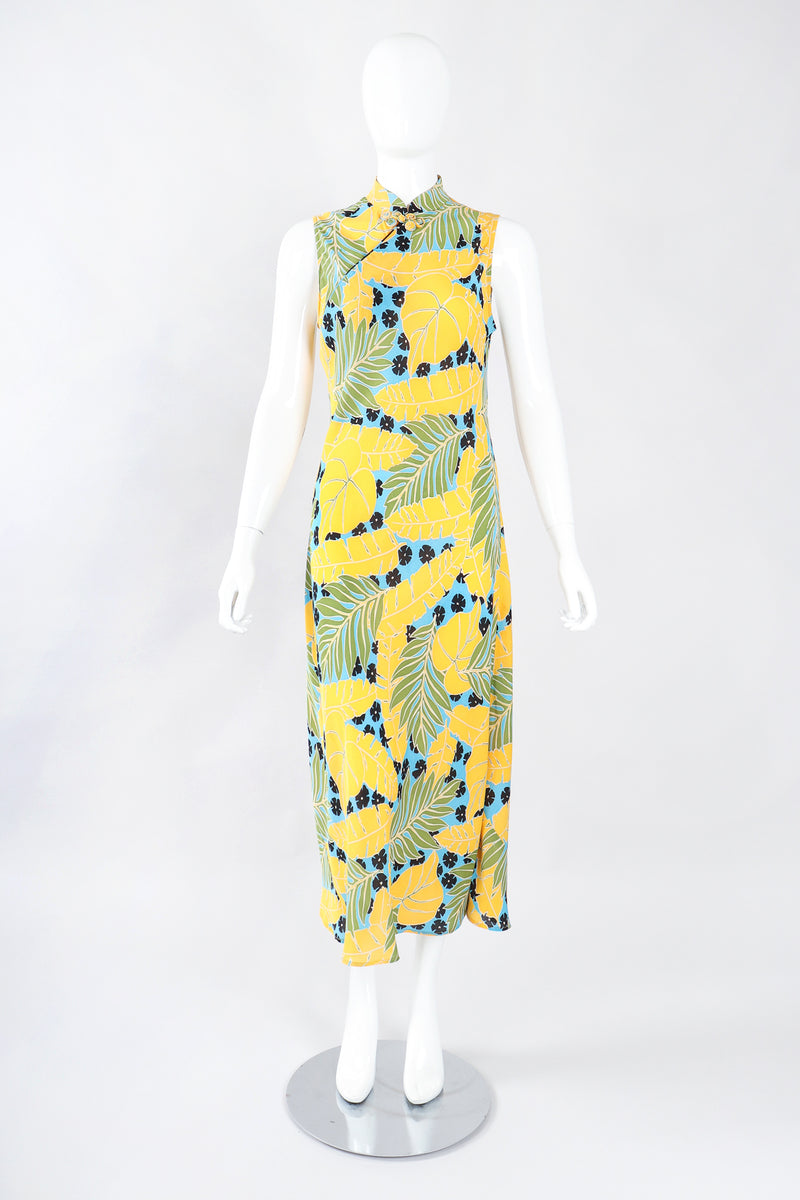 Recess Los Angeles Designer Consignment Resale Recycle Vintage Jeannene Booher Tropical Palm Print Cheongsam Sheath Dress