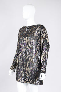 Recess Los Angeles Vintage Jerri Sherman Sheer Lamé Floral Paisley Minidress Tunic
