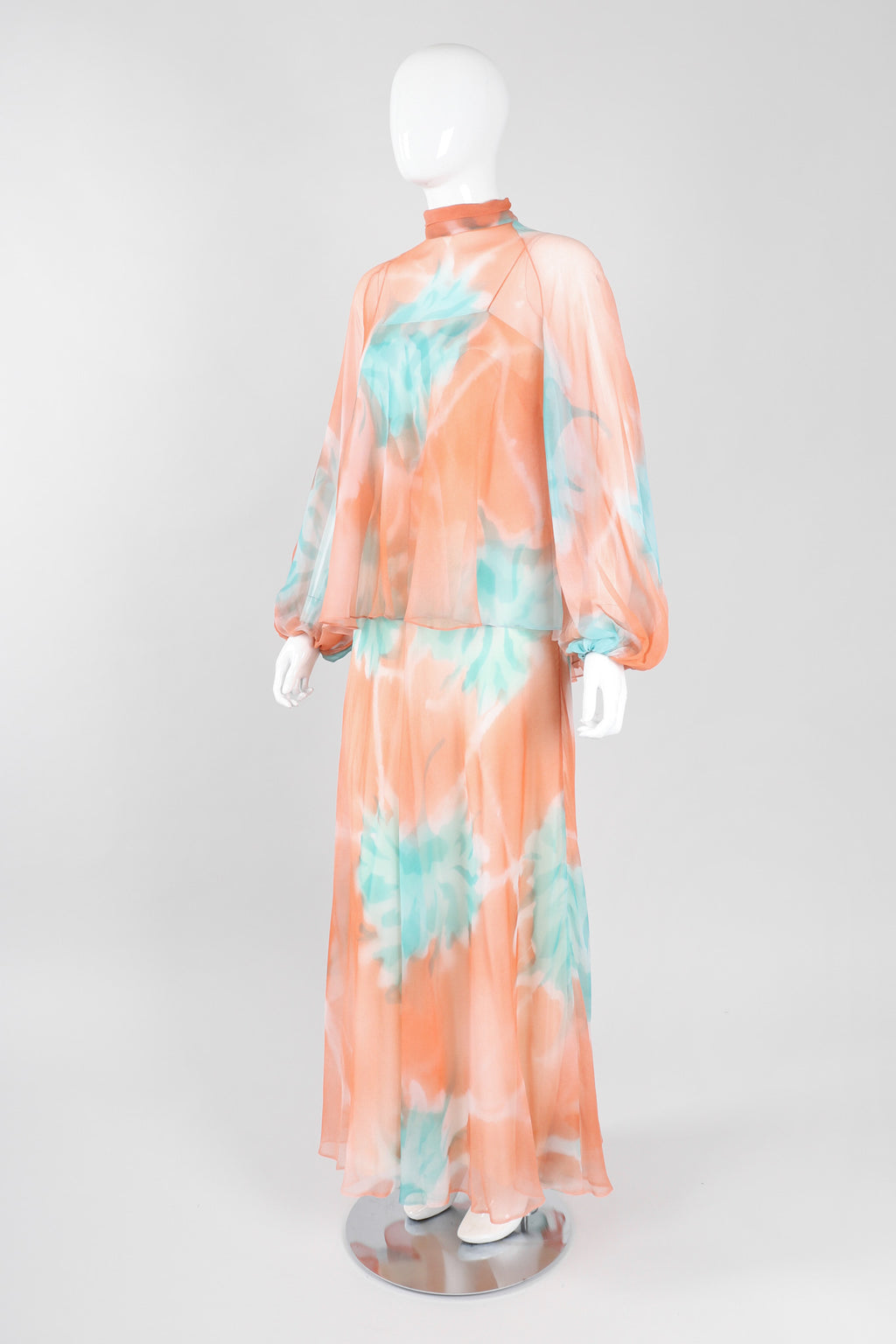 Recess Los Angeles Vintage Jerry Marsch for Mardi Gras Silk Chiffon Watercolor Dress & Top Set
