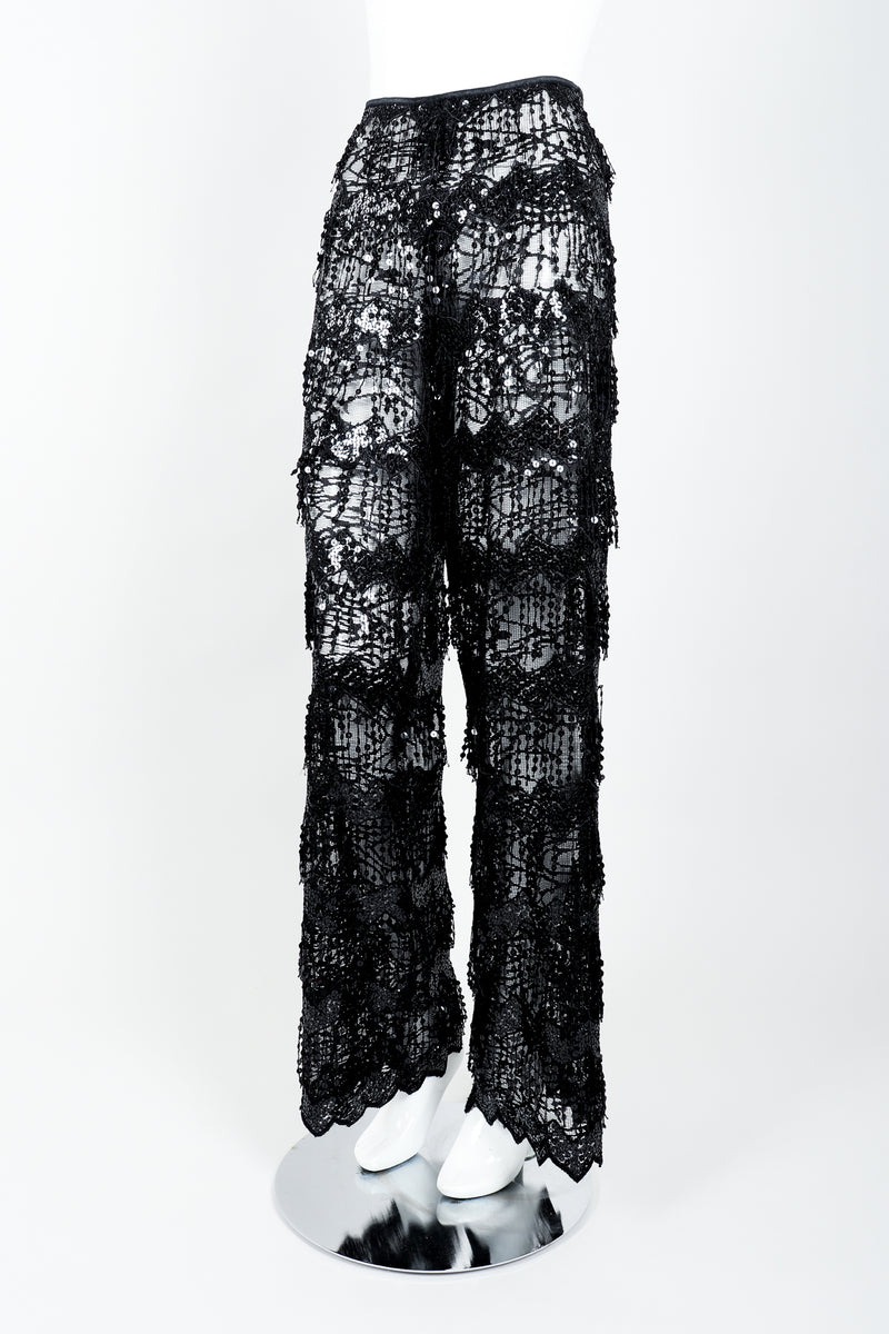 Vintage Jiki Sheer Sequin Tassel Pant On Mannequin Angled at Recess