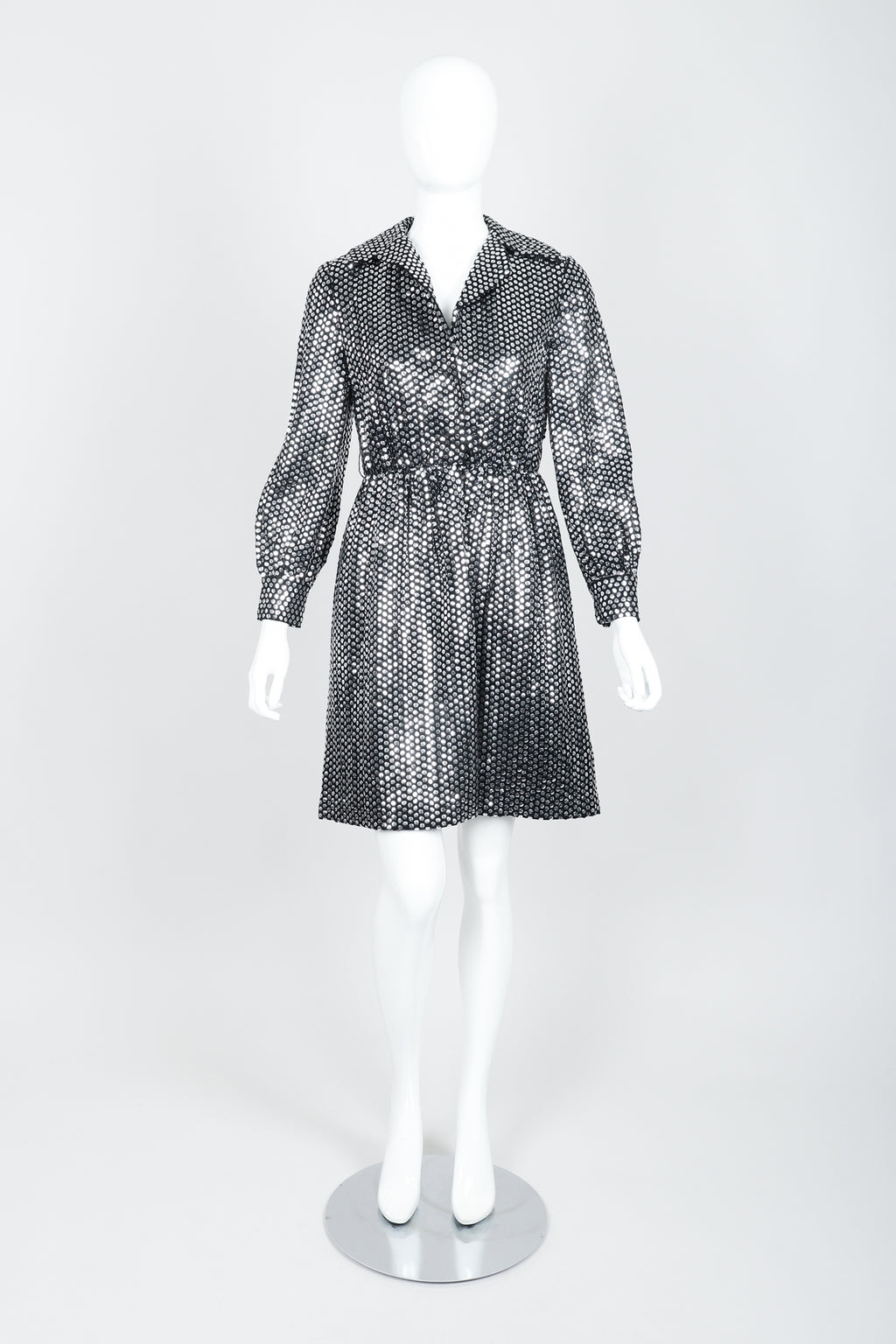 Vintage Joan Leslie by Kasper Sequin Mirror Shirtwaist Dress on Mannequin front at Recess