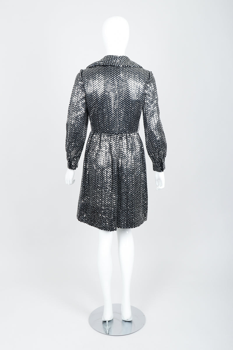 Vintage Joan Leslie by Kasper Sequin Mirror Shirtwaist Dress on Mannequin Back at Recess
