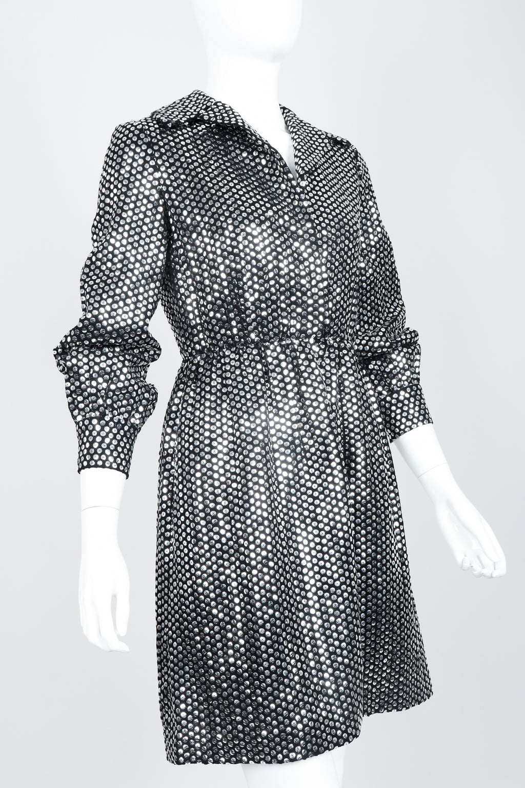 Vintage Joan Leslie by Kasper Sequin Mirror Shirtwaist Dress on Mannequin front crop at Recess