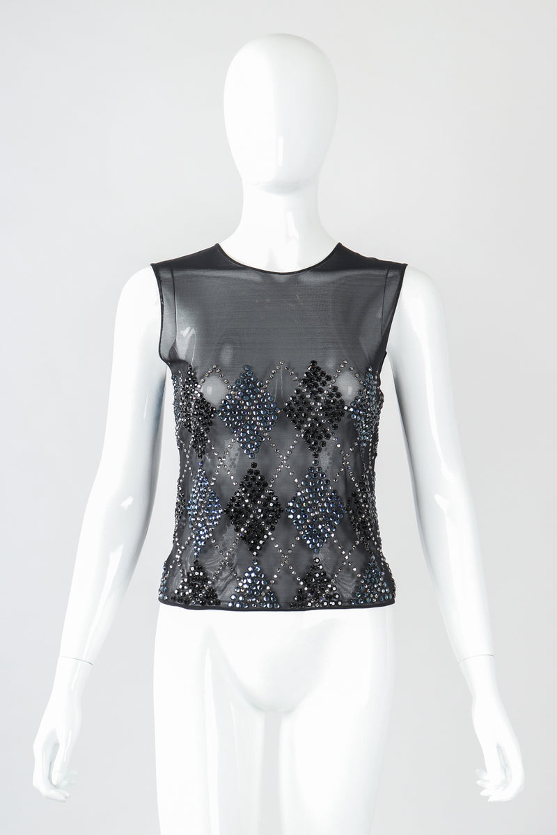 Recess Designer Consignment Vintage John Bartlett Sheer Rhinestone Argyle Top Clueless Los Angeles Resale