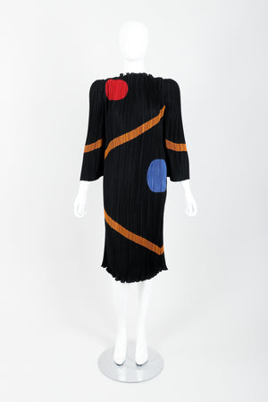 Vintage John Bates Pleated Graphic Print Dress Front at Recess